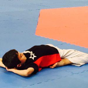 Sam Evans prepares for a Taekwondo tournament
